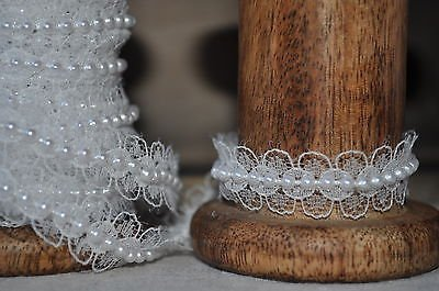 RIBBON QUEEN Premium Qualität Spitzenband Spitze pearl perlen Band-ordnung. Hochzeiten, Basteln, Nähen. Vintage Stil 2 Breiten (20mm oder 16mm) Weiß oder Elfenbein. Preis pro Meter (16mm, Weiß)