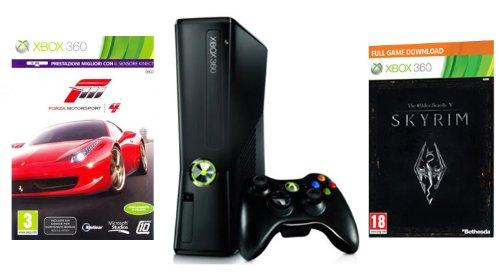 Foto Xbox 360 - Console 250 GB con Forza Motorsport 4 (Essential Edition), Skyrim e Abbonamento Xbox Live Gold 1 Mese [Bundle]