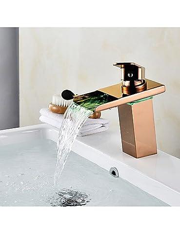 LISABOBO ® Mittellage Wasserfall with Keramisches Ventil Ein Loch for Rotgold , Waschbecken Wasserhahn , rose (Elegante Rosen-seife)
