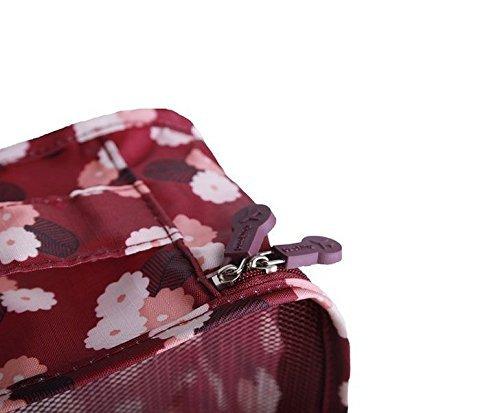 Tigèr 6 Sätze Reisegepäck Organizer Aufbewahrungstasche Reisebeutel - Rotwein Chrysantheme Rotwein Chrysantheme
