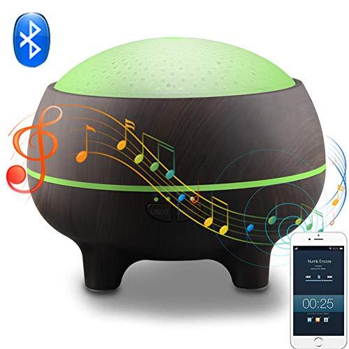 JW Diffusore da 300 ml per Aromaterapia Bluetooth, purificatore d\'Aria per Musica con granuli di Legno con Timer, 7 luci LED a Colori, spegnimento Automatico, Nero