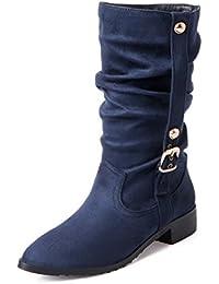 YORWOR Zapatos de Planos de Botas plisadas Mujer