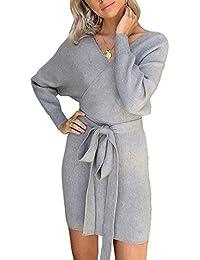 e8665eaa8d1 ASSKDAN Femme Elégant Robe Pull Tricoté Col V Croisé Manche Longue Robe  Crayon avec Ceinture