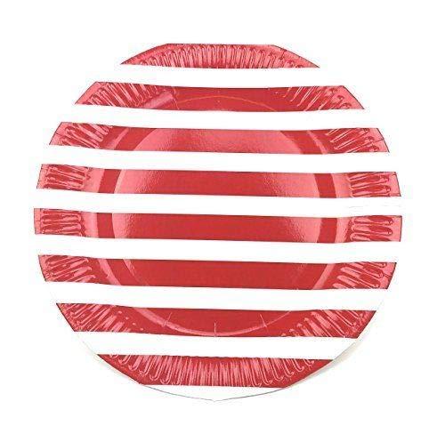 Linie Einweg-Papier Partyteller (rot) ()