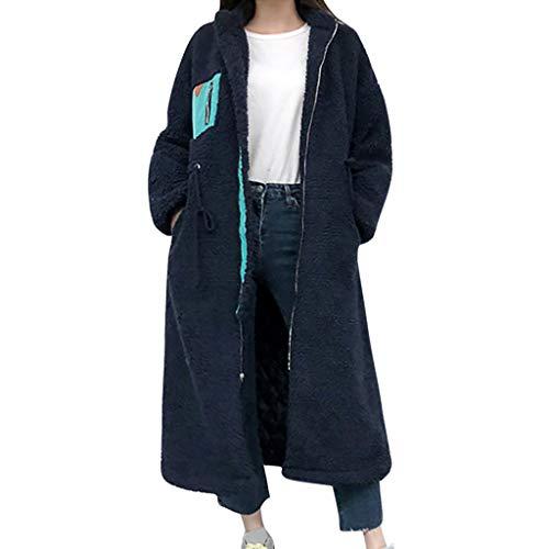 TOPSELD Mode für Frauen Winter-Patchwork-Jacken-Mantel warm Lange Ärmel Plüsch Overcoat -