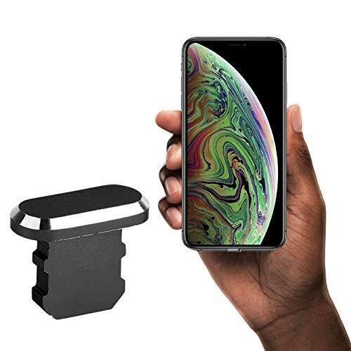 innoGadgets Staubschutz Stöpsel kompatibel mit iPhone 7/8/X/Xs/Xr | Staubstecker, Schutz für Lightning Anschluss | Aus hochwertigem Aluminium [alle iPhone Farben] + GRATIS Silikon-Clip | Schwarz