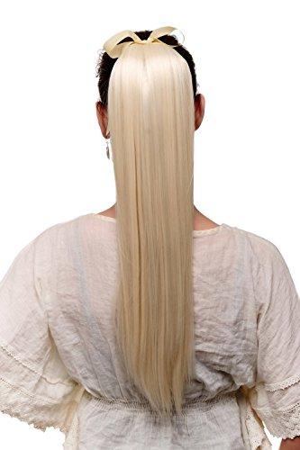 WIG ME UP - Haarteil Zopf Pferdeschwanz Haarverlängerung Platinblond glatt fallend Befestigung mit Bändchen & Klammer ca. 60cm C9429-613