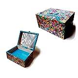 Jewelry box, customizable, hand painted, makeup box, psychedelic, multicolored, wood, christmas, birthday,/Boîte à bijoux, personnalisable, peinte à la main, boîte à maquillage, psychédélique, multicolore, bois, Noël, anniversaire,