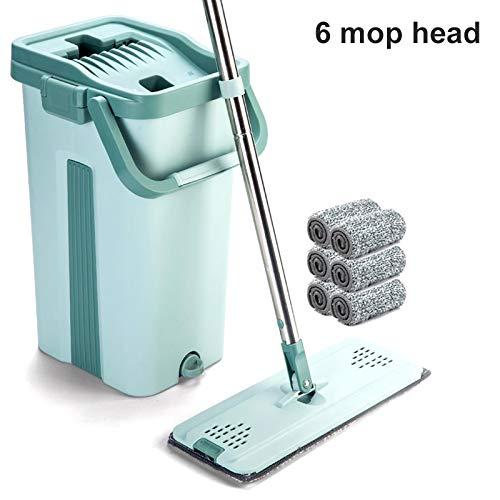 Klinkamz Mop Eimer System zur Bodenreinigung 2in1 Waschen Trocken mit Flachfaser-Mop-Pads 6 Mop Heads