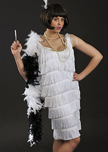 Flapper Girl Black And White Feather Boa