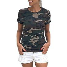 INTERNET Las mujeres camuflaje Casual manga corta camiseta del verano