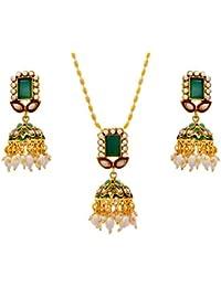 JFL - Traditional Ethnic One Gram Gold Plated Stones Pearls Designer Pendant Set For Women & Girls