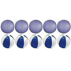 eBuyGB - Pack de 10 Bolas de Colores inflables para Piscina de Playa, Color Azul Transparente, 22 cm
