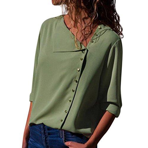 TEBAISE 2018 Ausverkauf Frauen Büro Oktoberfest Party offenen Kragen Elegante Formale Casual Revers Neck T-Shirt Damen Langarm Schnalle Bluse Tops(Grün,EU-44/CN-M) (Polo Boot Frauen)