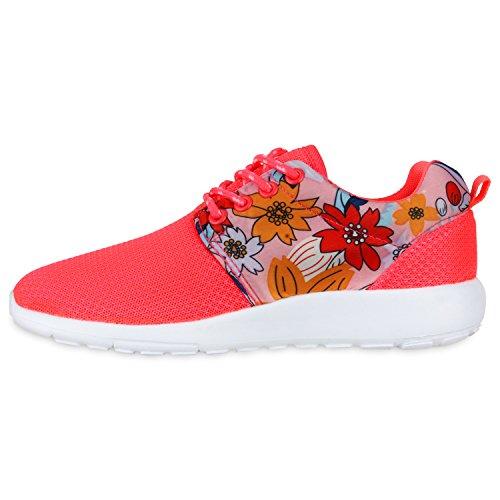 Damen Herren Sneaker Sportschuhe schwarz Turnschuhe Runners mit Blumen Print in mehreren Farben Neonpink
