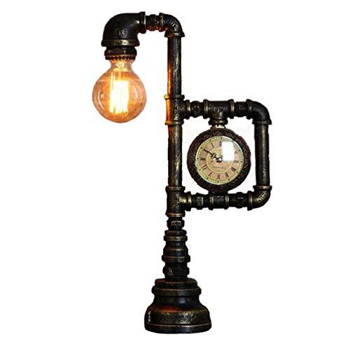 Tisch-/Schreibtischlampe, Loft-Inneneinrichtung Minimalistische Viktorianische Edison-Retro-Lampen, Steampunk Retro Industrierost Eisenwasserrohre Nachttischdeko Steam Punk (Uhr-Stil) - Lampe Viktorianische Tisch Lampe
