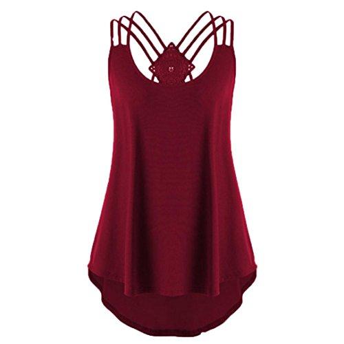 TIREOW Frauen Übergröße Ärmelloses Shirt Bluse Lässige Tanktops in 3 Farben, S-2XL (Wein, 2XL)