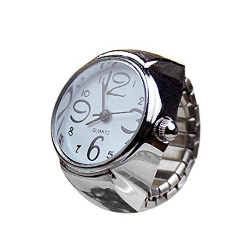 Herren-uhren-elastisches Band (Coolster Damen Herren Unisex Paar Ring Uhr Kreative Elastische Edelstahl Fingeruhr (Weiß))