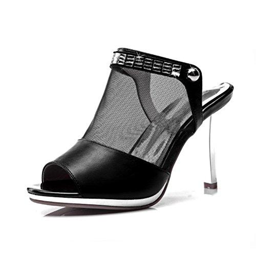 Modische Sandalen Stilettos Sexy Sommer High Riemenschnalle Zehen Meshoberflach Offene Damen Schwarz Heels Aufzug Abendkleid Plateau SW7TU