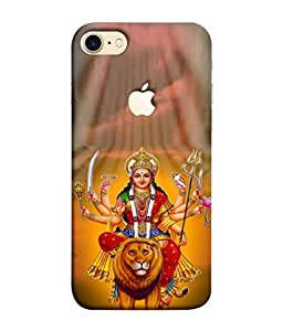 PrintVisa Sherawali Mata 3D Hard Polycarbonate Designer Back Case Cover for Apple iPhone 7 (Logo View Window Case)