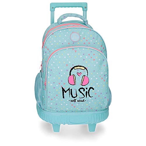 Roll Road Music - Mochila Escolar, 43 cm, Azul