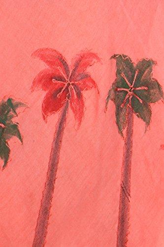 Sakkas Aquarell-Palme-Behälter Kaftan Kleid Koralle
