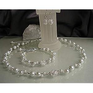 Brautschmuck Set 3teilig in weiß