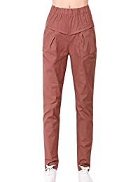 Primavera Verano Mujer Elegantes Moda Pantalon con Bolsillos Fiesta Estilo  Color Sólido Elastische Taille Cómodo Slim e0d9e9b49d6e