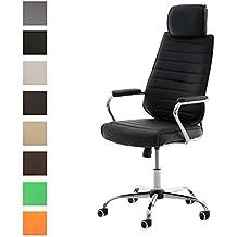CLP Silla de escritorio RAKO con acolchado grueso y de calidad. Con tapizado de cuero sintético. La altura del asiento es regulable: 46 - 57 cm. Tiene reposabrazos, apoyacabezas y función de negro