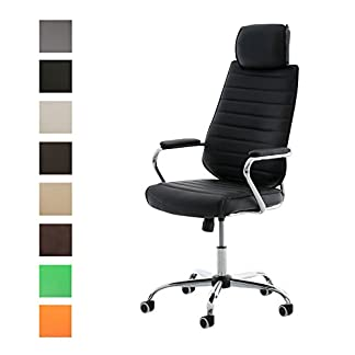 41SDEtboSOL. SS324  - CLP Silla de Oficina Rako en Cuero Sintético I Silla Ejecutiva Regulable en Altura I Silla de Escritorio Giratoria I Color: