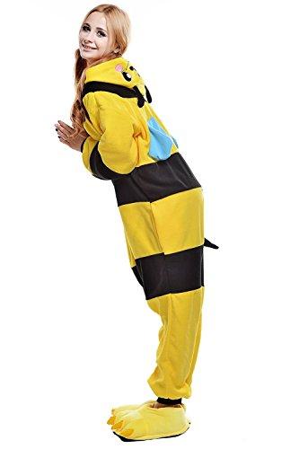 Imagen de abyed kigurumi pijamas unisexo adulto traje disfraz adulto animal pyjamas,amarillo abeja adulto talla m para altura 159 166cm alternativa