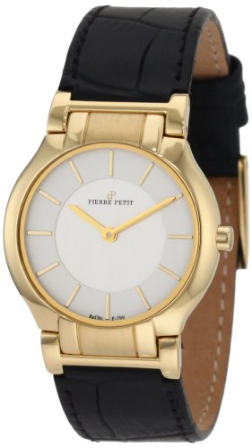 Pierre Petit Women's P-799D Serie Laval Yellow-Gold PVD Case Black Leather Watch