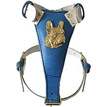 Tamaño mediano de dos tonos piel perro arnés con diseño de metal de cabeza de Bulldog Francés