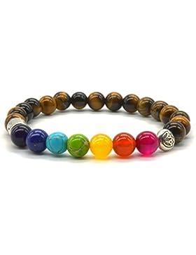 Tigers Auge Armband, Naturstein Armband 7 Farbe Chakra Reiki Yoga Meditation Mala Buddhistisches Gebet Balancing...