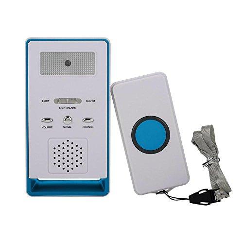 Botón de Llamada del Cuidador inalámbrico Sistema de Alerta Transmisor y Receptor para Pacientes Ancianos Niños Embarazadas(Blue)