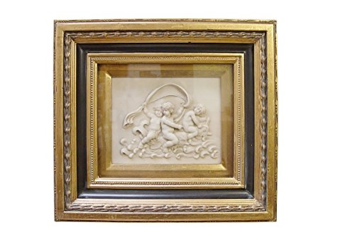 Casa Padrino Barock Wanddekoration Bilderrahmen mit Antik Stil Bildniss Gold/Weiß