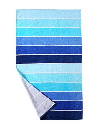Strandtuch aus 100% Baumwolle, Pool-Handtuch Farbverlauf blau gestreift (76,2x 152,4cm), schnell trocknend, leicht, saugfähig und weich