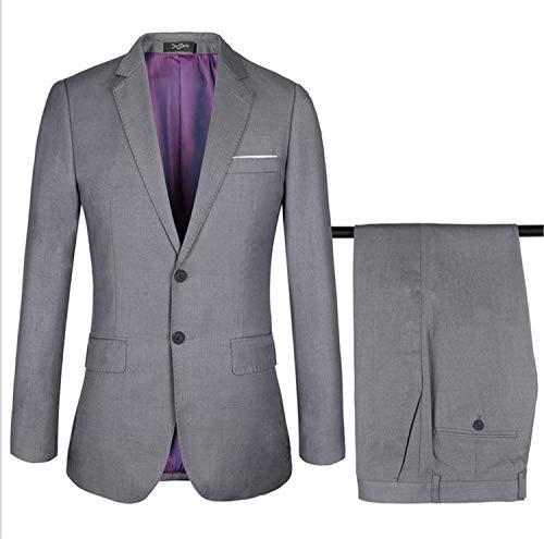 UNIQUE-F Herren Anzüge 2 Stück Slim Fit Hochzeit Smoking Anzug Jacken Zweiknopf Einreiher Blazer Jacke Classic Vintage XL -