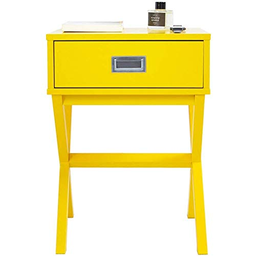 HYLH Side Table Desk End Bedside Snack Coffee Bistro Square Coffee Table, Coffee Table with Drawers, Wooden Phone Table (Color : Yellow, Size : 40 * 55cm) -