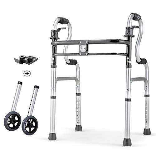 Rolling Walkers Schwere Faltbare Walker mit Rollen für Senioren, Erwachsene, extra breite Vorderrad-Walker (2 5-Zoll-Räder), für Erwachsene bis 200 kg (Breit Walker Extra)
