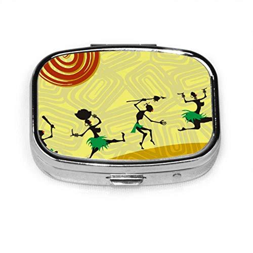 Afrikanische Frau Tribal Vintage schöne Pillendose Fall für Medizin Tablet Inhaber Wallet Organizer Fall für Tasche oder Geldbörse (Vintage-tablet-fall)