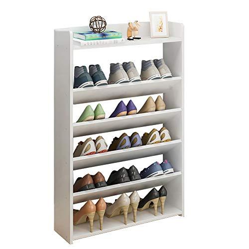 YXX- Große 6 Tier-Schuh-Zahnstangen Holz Shoebox für Eingang u. Schlafzimmer, Wasserdichter Schuhschrank, feuchtigkeitsfest (Farbe : Weiß)