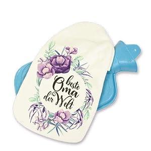 Wärmflasche Beste Oma der Welt 800ml Großeltern Geschenk für Großmutter und Großeltern kuschelige Geschenkidee