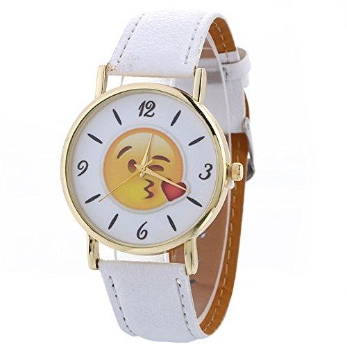 2017 Fashion Cute Emoji Leather Band Quartz Wrist Watch_Weiß (Emoji-promotion)