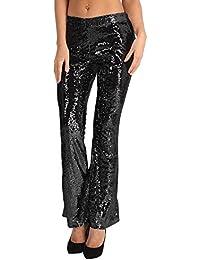 Tiaobug Damen Hose Schlaghose 70er Retro Kostüm Festlich Abendmode Pailletten  Pants Glänzend Kleidung Clubwear f5db953ee5