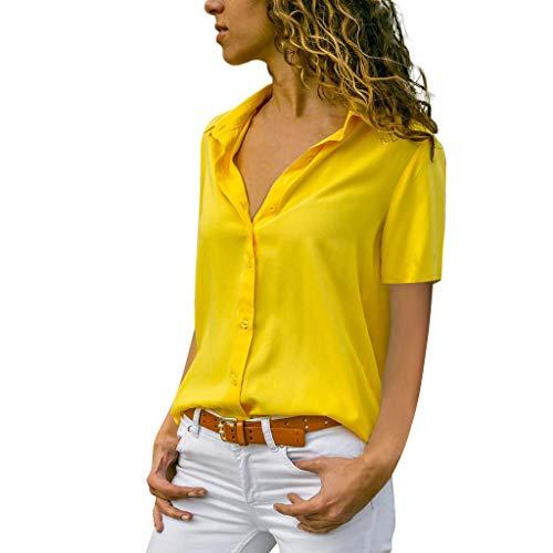 MRULIC Damen Shirt Tie-Bow Neck Striped Langarm Spleiß Bluse Gestreift Damen Tragen Tops Pullover(C-gelb,EU-48/CN-4XL)