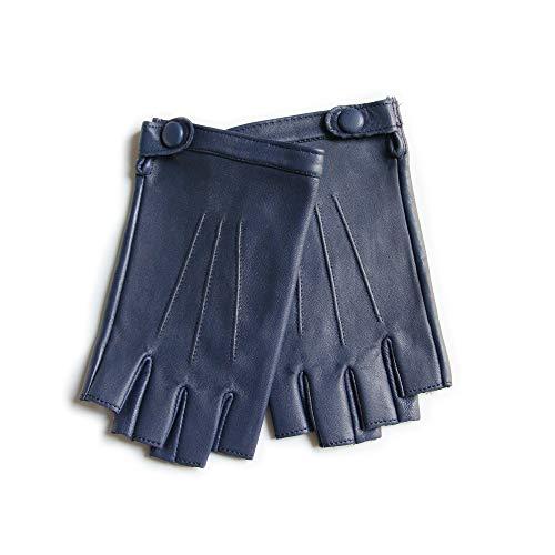 YISEVEN Damen Fingerlose Schaffell Lederhandschuhe Halbfinger Autofahrer-Handschuhe Winter Leder, Blau Mittel/7.0