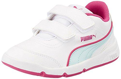 Puma Stepfleex FS SL V Kids Unisex-Kinder Hallenschuhe Weiß (white-clearwater-beetroot purple 08)