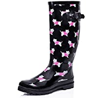 NEW WOMENS BLACK DOG WELLIES WELLINGTON BOOTS SIZE 8