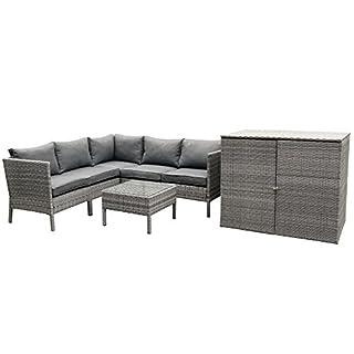 Rattan Gartengarnitur Lounge AVOLA 7 tlg mit großer Polsterbox und Tisch